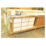 Wood Work Table with Drawers, Cabinets and Power Connections