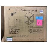 Nelson 24 in. Gray Leather Cushion and Black Stainless Steel Frame Metal Bar Stool by Nathan James Open Box Customer Returns See pictures.