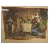 PRINT OF FAMILY AT KITCHEN TABLE, IN DECORATIVE FRAME, FRAMED AT THE DORIS NIELSEN ART STUDIO, EDINA