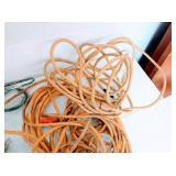 Box of Extension Cords, Jumper Cables and Power Strips