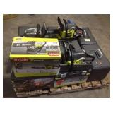 Pallet with assorted Ryobi Chain Saws carious conditions customer returns see pictures