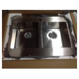 CMI Brimley Retrofit Dual Mount Stainless Steel 33 in 1 hole 50/50 Double Bowl Flat Farmhouse Apron Kitchen Sink see pictures