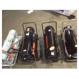 Lot of assorted Forced Air Kerosene Portable Heaters used various conditions see pictures