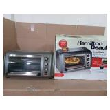 Easy Reach 1500-Watts 6-Slice Grey Toaster Oven with Roll-Top Door by Hamilton Beach- open box not used- slightly damaged  -SEE PICTURES