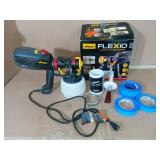 Flexio 2000 HVLP Paint Sprayer & Paint busin in a can & paint tape - slightly used-SEE PICTURES