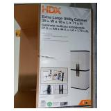35 in. W 4 Shelf Plastic Multi-Purpose Cabinet in Gray by HDX- open box not used slightly damaged -SEE PICTURES