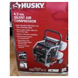 4.5 Gal. Portable Electric-Powered Silent Air Compressor by Husky- open box not used -SEE PICTURES