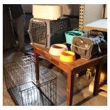 Dog Cages And Water Bowls Lot