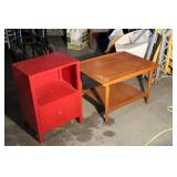 Cedar Table And Red Table Lot
