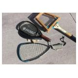 One Tennis Racket And 2 Racket Ball Rackets