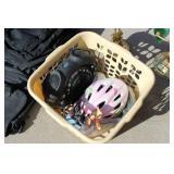 Laundry Basket, Piano Lamps, 2 Black Bags, Bike Helmet, Exercise Ball