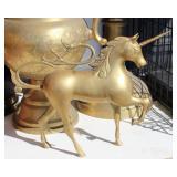 "Unicorn Horse Brass Statue 15"" W X10 1/2"" H"