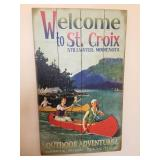 """Wooden """"Welcome To St Croix"""" Stillwater Minnesota Sign"""