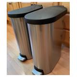 Two Simplehuman Stainless Steel Garbage Cans