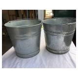 2 Galvanized Garden Buckets