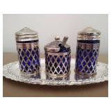 Blue Glass and Silver Salt, Pepper, and Sugar Tray