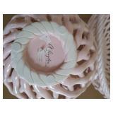 Two Pink Ceramic Baskets