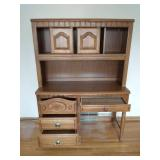 Wood Desk With Shelf And Cabinet