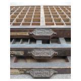 Three Vintage Wood Printers Drawer Letterpress Shadow Typeset