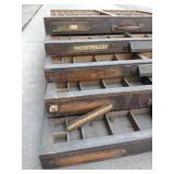 Five Vintage Wood Printers Drawers Letterpress Shadowbox Typeset