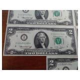 5 Uncirculated Sequential Bicentennial $2 Bills