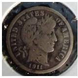 1911 Barber Silver Dime