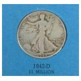 Walking Liberty Half Dollar Folder with 5 Coins