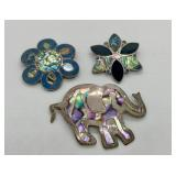 3 Vintage Sterling & Abalone Pins/ Pendants