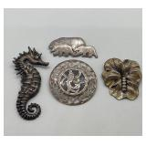 4 Vintage Sterling Figural Brooches/ Pins