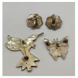 Two Vintage Sterling and Abalone Brooches & Pair of Clip-on Earrings