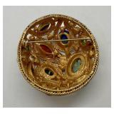 Beautiful Gold Tone w/ Semi Precious Stones Brooch