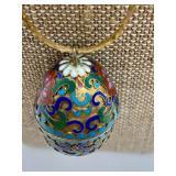 Vintage Cloissone Enamel Egg Pendant Necklace on Gold Tone Chain