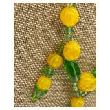 Fun Vintage Green & Tangerine Glass Beaded Necklace