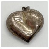 """Vintage Sterling Silver 3D """"Puffy"""" Heart Pendant"""