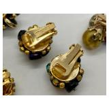 8 Pairs Designer Vintage Clip Earrings- Hobe, Marvella, Vogue, Les Bernard, Napier & Monet