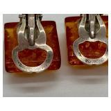 Vintage Sterling & Orange Lucite Confetti Clip-on Earrings