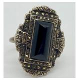 Vintage Sterling Silver, Onyx & Marcasite Ring