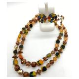 "Bakelite & Mixed Beads Vintage Necklace & Earrings Set ""W. Germany"""