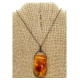 Vintage Russian Amber Pendant Necklace on Sterling Chain by Kaliningrad Amber Factory