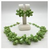 Vintage Western Germany Mint Green Glass Bead Necklace & Earrings Set- Uranium Glass?