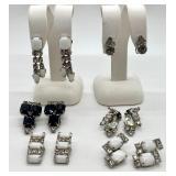 6 Pairs Vintage Crystal & Milk Glass Screw Back Earrings
