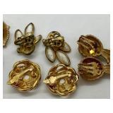 6 Pairs Signed Vintage Designer Clip-on Earrings - Trifari, Kramer, Ciner, & Lisner