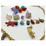 Fun Vintage Eclectic Pendant Necklace w/ Extra Polished Stone & Glass Fruit Pendants.