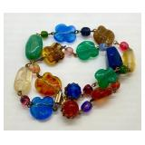 Vintage Multicolor Glass Bead 2 Strand Bracelet