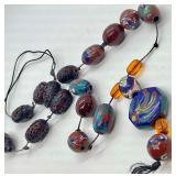 Strand of Gorgeous Detailed Asian Cloissone Enamel & Cinnabar Vintage Beads