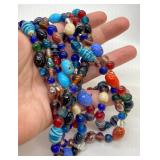 Lovely Italian Glass Beaded Necklace - Very long
