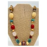 Vintage Statement Necklace w/ Tigers Eye, Quartz, Onyx, Wood & more
