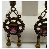 Antique Lavalier Earrings w/ Purple Glass Stones