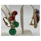 2 Pairs Vintage Clip-on Earrings