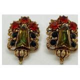 Vintage Signed Florenza Clip-on Earrings